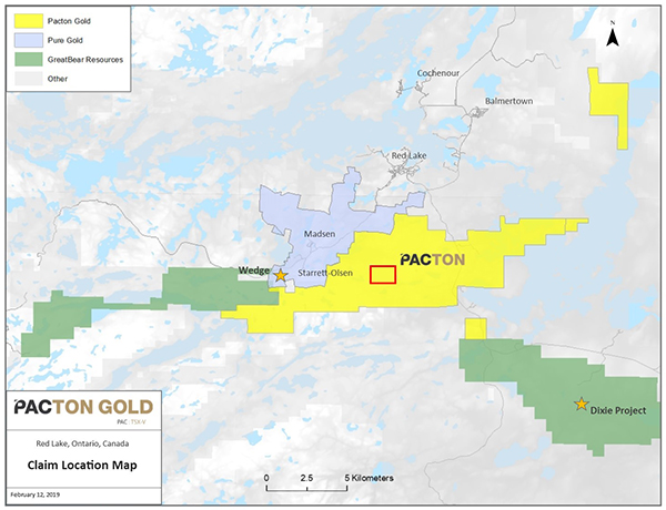 Location map of mineral claims acquired by Pacton Gold
