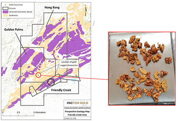 Figure 2. Golden Palms and adjacent Pacton tenements. Mineralized Mesoarchean basal unit, 