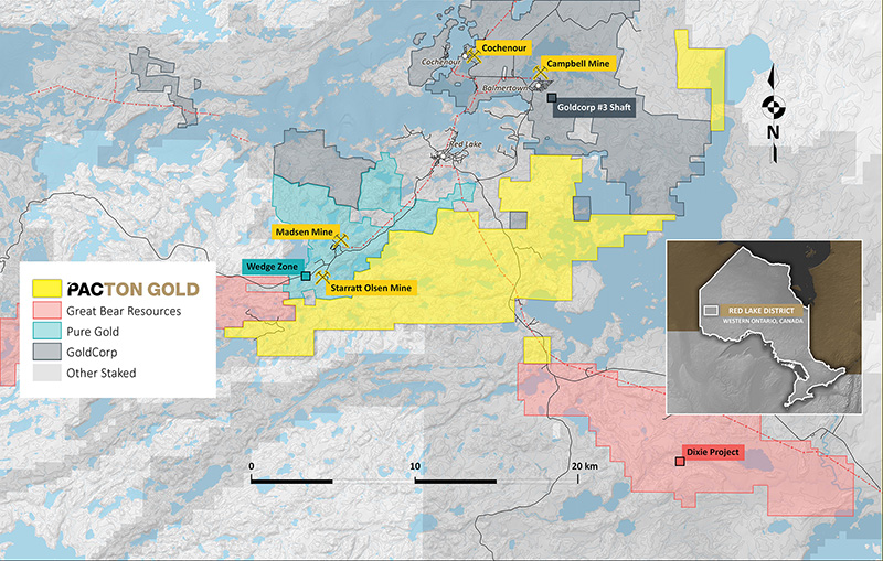 Pacton Gold's Red Lake property showing location of other major projects in the district.
