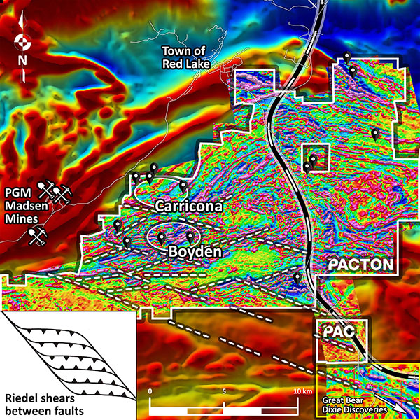 Expanded view of Boyden and Carricona areas of Pactons main Red Lake claim group showing the prominence of the regional NW-SE structural corridor...