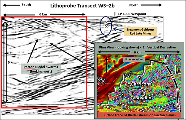 Lithoprobe deep seismic section showing Riedel flower structures on Pactons Red Lake project. Illustration only, not to scale.