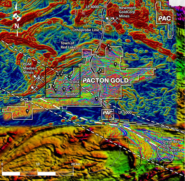Pacton Red Lake claims superimposed on derivative, regional magnetic maps; and high-resolution heli-mag first derivative data.