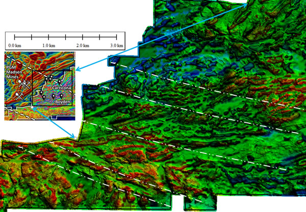 Magnetic details of Carricona-Boyden area showing detailed structure generated by the combination of magnetic data (first vertical derivative of total magnetic intensity) and Lidar terrain model.