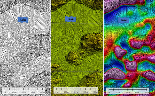 Outcrop finder map, showing probable locations of outcrops (darker spots on map at left). Center: outcrop finder map with Lidar elevation. Right: outcrop finder map with first vertical derivative of total magnetic intensity.