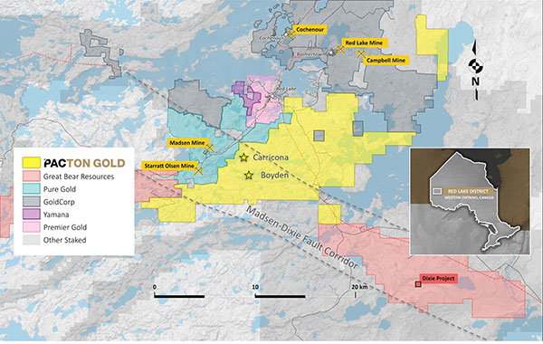 Pacton Gold's Red Lake Gold Project claim map showing other active projects and the Madsen-Dixie fault corridor.