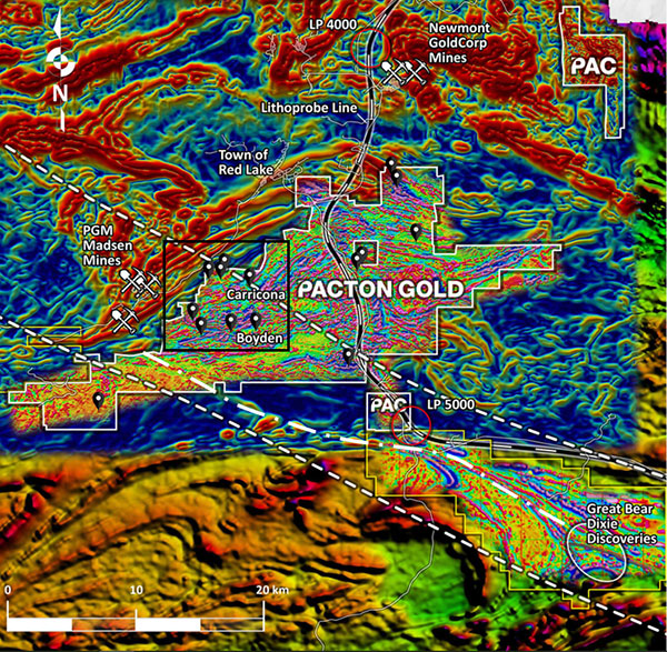 Pacton Gold's Red Lake property superimposed on derivative, regional magnetic maps; and high-resolution heli-mag first derivative data. Lithoprobe transect WS-2b (white & black line) is shown with two reference waypoints.