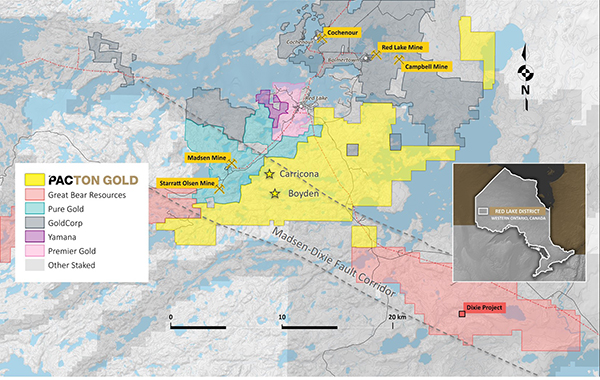 Pacton Golds Red Lake Gold Project claim map showing other active projects and the Madsen-Dixie fault corridor.