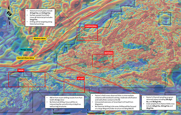 Pacton Gold drill prospects showing regional magnetic anomalies and structural targets.