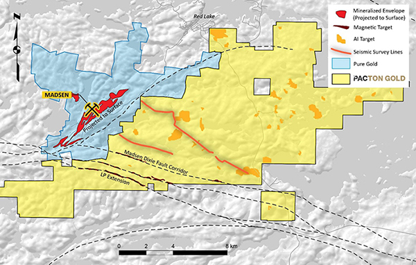 Pacton's central Red Lake property with 2D seismic survey lines in relation to magnetic and AI targets.