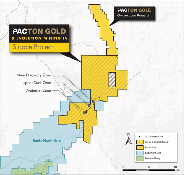 Sidace joint venture project between Pacton and Evolution Mining showing the locations of the Main Discovery, Upper Duck, and Anderson zones and drill hole locations from the ongoing 11,500 m program.