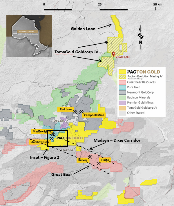 Red Lake gold mining area property map showing Pacton's strategic location on the Madsen-Dixie structural corridor between Pure Gold's Madsen and Starratt Olsen deposits and Great Bear's significant new gold discoveries to the southeast.