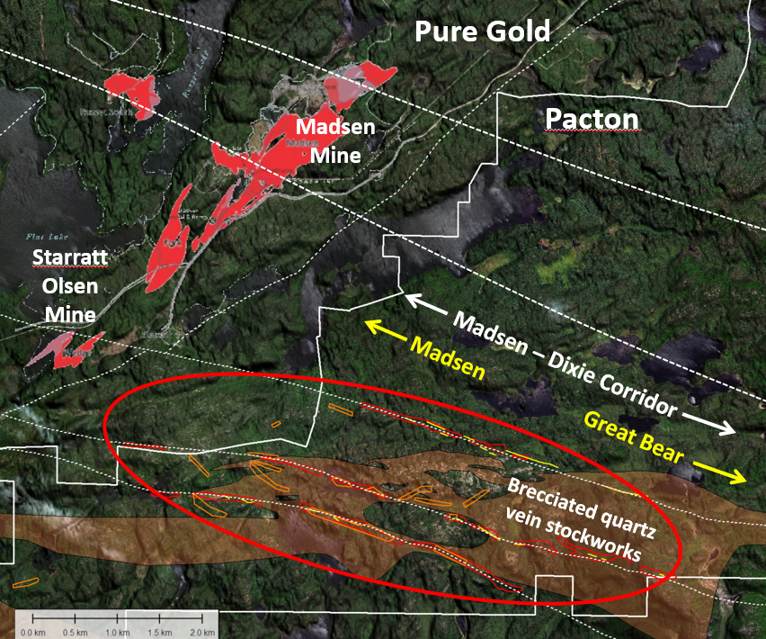 Area covered by the Figure 1 inset, showing the western portion of Pacton's main Red Lake property located in the productive Madsen – Dixie structural corridor that includes Pure Gold's Madsen and Starratt Olsen mines to the NW (indicated) and Great Bear's Rimini and Hinge gold discoveries to the SE. White dashed lines show some of the extensive deep faults that define the Madsen-Dixie structural corridor more fully outlined in Figure 1. Initial 2020 drilling will be undertaken inside red ellipse. The area highlighted by a transparent orange background is underlain by intermediate and felsic vein-stockwork breccias. Coincident machine learning targets, based on magnetic, Lidar and mapping datasets, are shown in red, yellow and orange polygons and are considered priority drill targets.